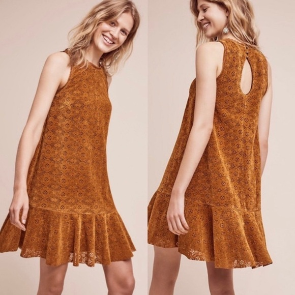 Anthropologie Dresses & Skirts - Anthropologie Maeve Amis Velvet Lace Dress Size 10